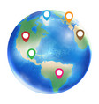 gps icon on a planet earth globe vector image