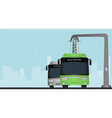 green electric bus at a stop vector image vector image