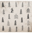 Hand drawn Christmas Tree Set on grunge Background vector image vector image