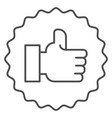 hand with thumbs up thin line icon like vector image vector image