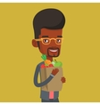 Happy man holding grocery shopping bag vector image vector image