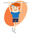 Hipster funny sportsman hanging on horizontal bar vector image