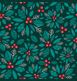 holly berry dark green red holiday vector image vector image
