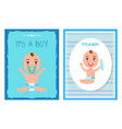 its boy posters set with happy infants in diapers vector image