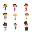 kids in national clothes boys and girls cartoon vector image vector image