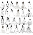 kit silhouette brides in wedding charge vector image vector image