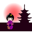 Kokeshi doll and japanese temple vector image