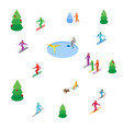lot of colored people skiing and skating vector image