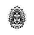 mexican girl dia de los muertos silhouette vector image vector image