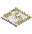 museum isometric in city vector image vector image