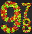 number of autumn leaves vector image