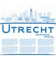 outline utrecht netherlands city skyline with vector image vector image