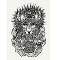 Pen and ink of Indian fox holding vector image vector image