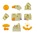 piles of paper dollars silver and gold coins vector image vector image