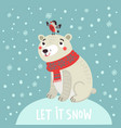 polar bear christmas card vector image vector image