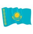 political waving flag of kazakhstan vector image