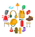 safety work icons set cartoon style vector image