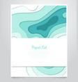 sea wave abstract layout - paper cut banner vector image