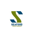 seafood fresh product letter s icon vector image vector image