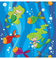 seamless mermaids fish in water with waves vector image vector image