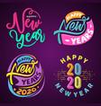 set happy 2020 new year insta color banner vector image