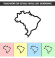 simple outline transparent brazil country vector image