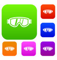 skiing mask set collection vector image vector image