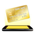 smartphone with credit card floating vector image vector image