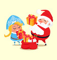 snow maiden santa with gifts vector image vector image