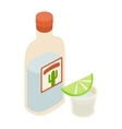 Tequila bottle and shot with lime icon vector image vector image