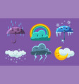 weather symbols set forecast meteorology childish vector image