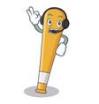 with headphone baseball bat character cartoon vector image vector image