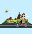 woman on bicycle with castle and mountains vector image vector image