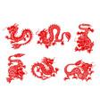zodiac horoscope dragon papercut animals vector image