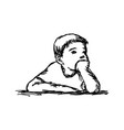 boy thinking with resting chin vector image