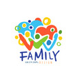 colorful happy family logo with people and hearts vector image