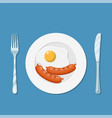 plate with fried egg icon vector image