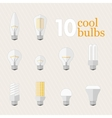 Set of 10 different bulbs vector image