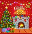 christmas greeting card with candles christmas vector image