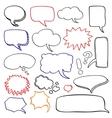 Hand drawn speech bubbles cloud doodle set vector image