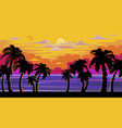 a beautiful sunset sunrise with palm trees vector image vector image