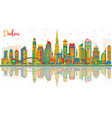 abstract dubai uae city skyline with color vector image vector image