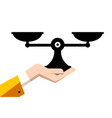 analog scales symbol in human hand isolated on vector image vector image