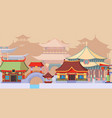 ancient asian temples and buildings vector image