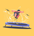 athlete jumping on trampoline vector image