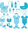 baby shower boy elements announcement vector image