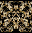 beautiful gold 3d floral seamless pattern vector image vector image