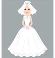 bride in white dress and veil vector image vector image