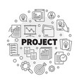 business project round in thin vector image vector image