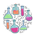 chemistry test tubes outlined sketch round vector image